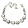 Bridal/ Prom/ Wedding Simulated Pearl Crystal Floral Bracelet In Silver Tone - 14cm L/ 8cm Ext (For smaller wrists)