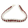 Clear/ Burgundy Red Austrian Crystal Bracelet In Rhodium Plated Metal - 17cm Length
