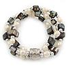 3 Strand Freshwater Pearl, Slate Black Shell Nugget Flex Bracelet - 20cm L