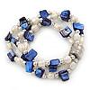 3 Strand Freshwater Pearl, Cobalt Blue Shell Nugget Flex Bracelet - 20cm L
