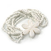 Multistrand White Glass Bead Flex Bracelet with Mother of Pearl Flower Pendant - 19cm L