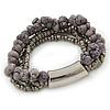 Multistrand Grey Semiprecious Stone, Metallic Silver Glass Bead Flex Bracelet - 19cm L