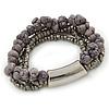 Multistrand Grey Semiprecious Stone, Metallic Silver Glass Bead Flex Bracelet - 19cm L
