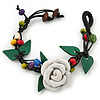 Handmade White Leather Rose with Green Leaves Cotton Cord Bracelet - 16cm L/ 2cm Ext