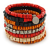 Wide Red/ Black/ Orange Wooden Bead Coil Flex Bracelet - Adjustable