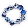 Blue Violet Shell Nugget Flex Bracelet - 18cm L