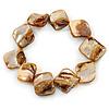 Brown Shell Nugget Flex Bracelet - 18cm L