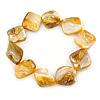 Antique Yellow Shell Nugget Flex Bracelet - 18cm L