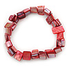 Red Shell Nugget Stretch Bracelet - 17cm L