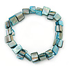 Light Blue Shell Nugget Stretch Bracelet - 17cm L