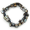 Slate Black Shell Nugget Stretch Bracelet - 17cm L