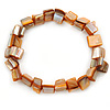 Coral/ Orange Shell Nugget Stretch Bracelet - 17cm L