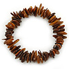 Brown Shell Nugget Stretch Bracelet - up to 19cm