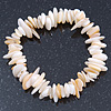 Antique White Shell Nugget Stretch Bracelet - up to 19cm
