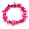Fuchsia Shell Nugget Stretch Bracelet - up to 19cm