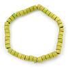Unisex Light Green Wood Bead Flex Bracelet - up to 21cm L