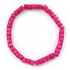 Unisex Fuchsia Wood Bead Flex Bracelet - up to 21cm L