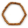 Unisex Brown Wood Bead Flex Bracelet - up to 21cm L
