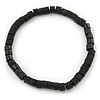 Unisex Black Wood Bead Flex Bracelet - up to 21cm L