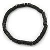 Unisex Black Wood Bead Flex Bracelet - up to 21cm L