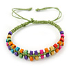 Multicoloured Wood Bead Friendship Bracelet With Light Green Cord - Adjustable
