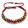 Multicoloured Wood Bead Friendship Bracelet With Dark Red Cord - Adjustable