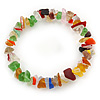 Multicoloured Semiprecious Nugget Stone Beads Flex Bracelet - 18cm L