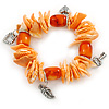 Orange/ Peach Shell Nugget, Ceramic Bead, Burnt Silver Metal Charm Flex Bracelet - 18cm L