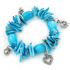 Sky Blue Shell Nugget, Ceramic Bead, Burnt Silver Metal Charm Flex Bracelet - 18cm L