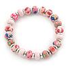 Pink Fimo Bead With Silver Tone Flex Bracelet - 18cm Length