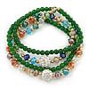 Green Agate Stone, Multicoloured Glass Crystal Bead Flex Bracelet/ Necklace - 66cm L