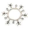 Silver Tone Crystal Dangle & Skull & Crossbones Charm Flex Bracelet - up to 20cm Ls