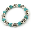 10mm Classic Turquoise Bead, Crystal Ring, Rose Flex Bracelet - 19cm L
