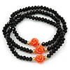 Black Glass Bead With Coral Acrylic Roses Flex Bracelet/ Necklace - 46cm L