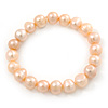 9mm Classic Pale Pink Freshwater Pearl Stretch Bracelet - 17cm L