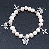 10mm Freshwater Pearl With Butterfly and Cross Charm Stretch Bracelet (Silver Tone) - 20cm L