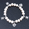 10mm Freshwater Pearl With Heart and Turtle Charm Stretch Bracelet (Silver Tone) - 20cm L