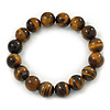 12mm Round Tiger Eye Semi-Precious Bead Flex Bracelet - 18cm L