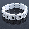 White 'Yin Yang' Stretch Wooden Icon Bracelet - Adjustable