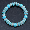 Classic Turquoise Bead With Crystal Ring Flex Bracelet - 19cm L