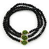 Black Glass Bead With Green Acrylic Roses Flex Bracelet/ Necklace - 52cm L