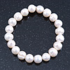 8mm Classic Light Cream Freshwater Pearl Stretch Bracelet - 18cm L