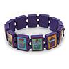 Purple Cupcake Wooden Stretch Icon Bracelet - 18cm L