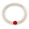 Light Silver Snowflake Metal Rings with Red Crystal Ball Stretch Bracelet - 18cm L