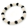 Silver Tone Snowflake Rings with Black Crystal Beads Flex Bracelet - 18cm L