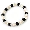 Silver Tone Snowflake Rings with Black Crystal Beads Flex Bracelet - 18cm L