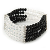 5-Strand Black/ Transparent Glass Bead Flex Bracelet With Crystal Bars - 20cm L