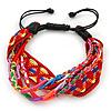 Unisex Handmade Multicoloured Cotton Woven Friendship Bracelet - Adjustable