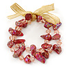 Two Row Red/ Pink Glass Nugget, Bead Flex Bracelet with Gold Organza Ribbon - 20cm L