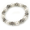 Faux Pearls, Rose Shape Silver Tone Beads, Crystal Rings Stretch Bracelet - 18cm L